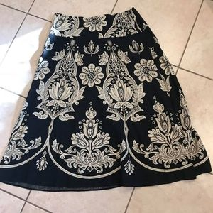 Bandolino Black & cream floral A-line Skirt 10
